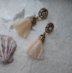 Boho rhinestone tassel dangle earrings